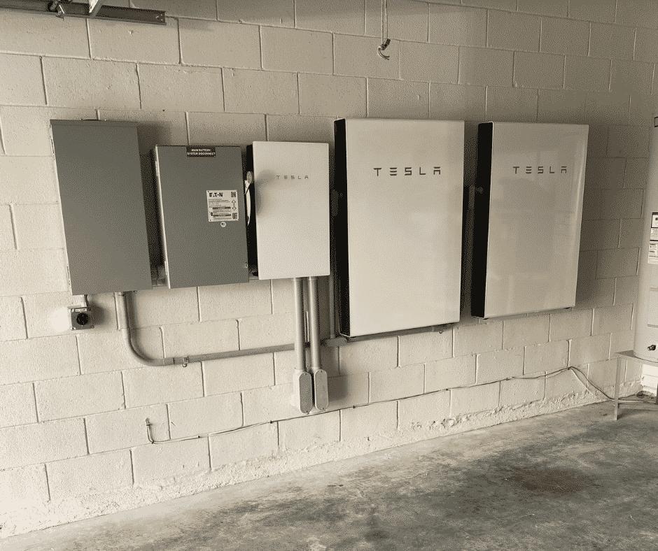Garage with Tesla Powerwalls Solar Battery Generator