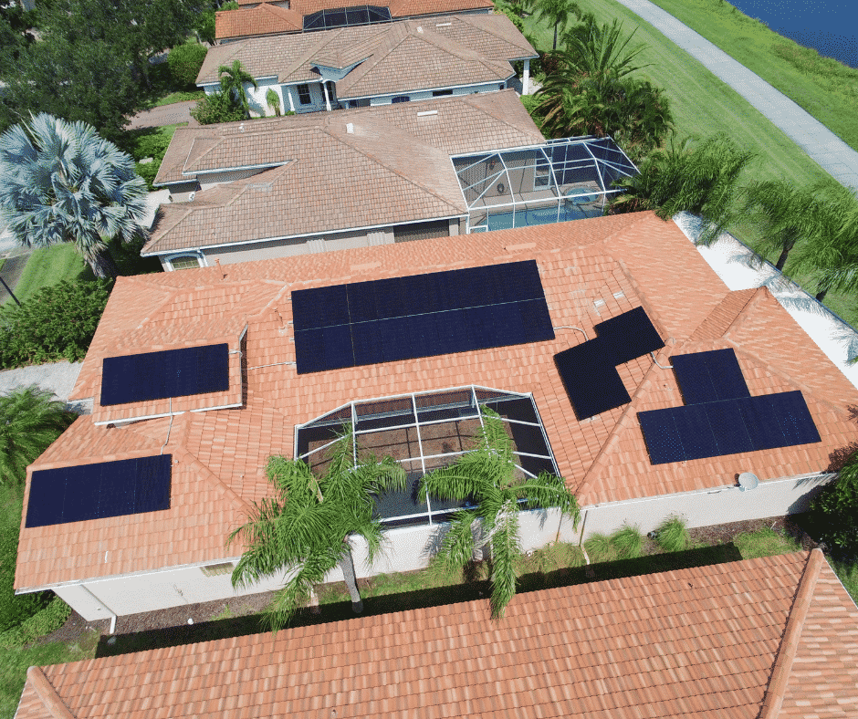 Solar Panels on the Roof of Home in Lake Mary Florida